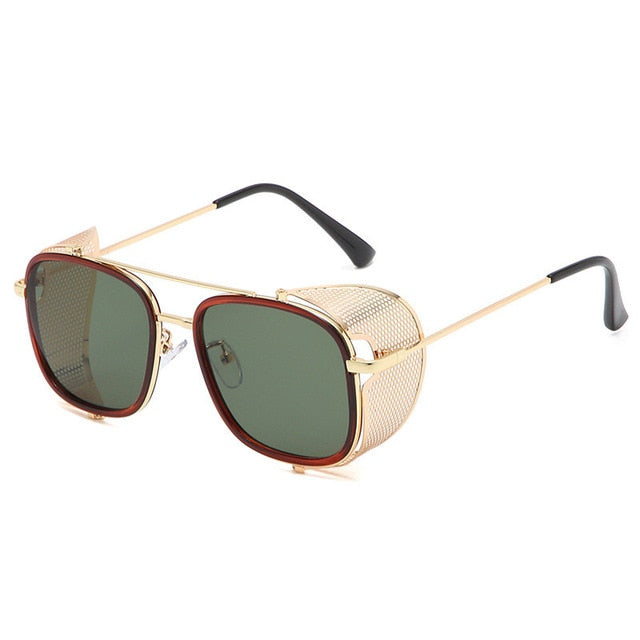 Calanovella Steampunk Square Sunglasses Men Women Oversize Punk Driving Sun Glasses UV400 Eyewear Metal Frames
