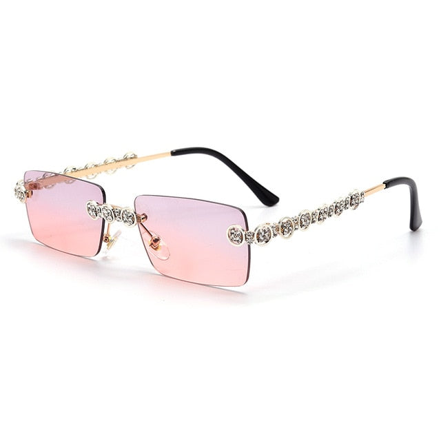 Calanovella Steampunk Diamond Glasses Stylish Two Toned Rimless Diamond Square Rectangle Sunglasses for Men Women 2020 Cool Rectangle Steampunk Rhinestones Vintage Sun Glasses UV400 gray pink a,orange a,purple pink a,black a,brown a,yellow a,gray pink b,orange b,purple pink b,black b,brown b,yellow b 34.99 USD