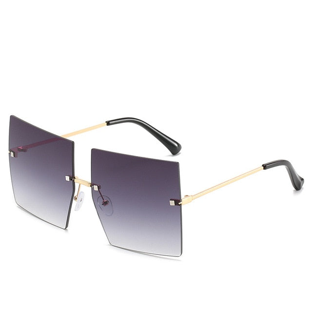 Calanovella Trendy Oversized Square Two Toned Rimless Sunglasses for Men Women 2020 Fashionable Men Women's Big Square Sunglasses UV400 black,brown,red,purple pink,gray pink 34.99 USD