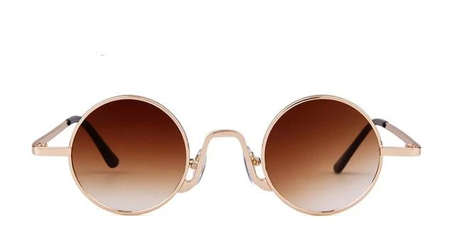 Calanovella 2020 New Retro Skinny Round Steampunk Sunglasses for Men Women Stylish Small Oval Circle Vintage Sun Glasses