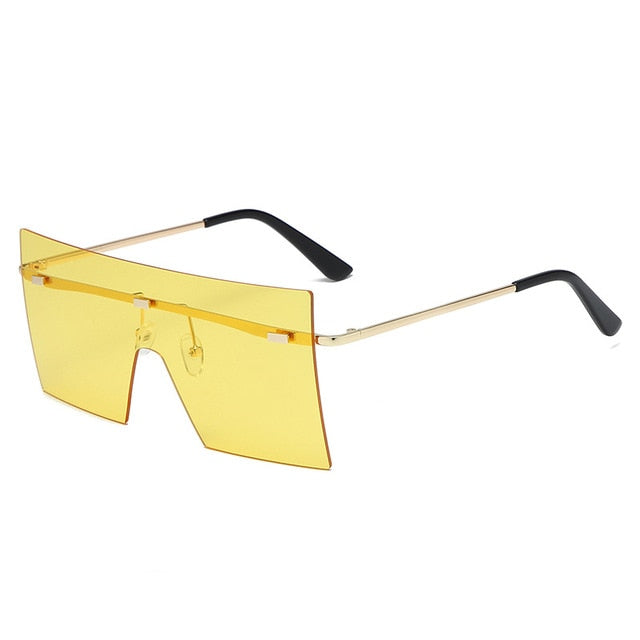 Calanovella Square Oversized Two Toned Rimless Sunglasses Women Men Sun Glasses Cool Square One Piece Shades brown,gray,pink,black,champagne,purple,blue pink,blue,yellow 34.99 USD