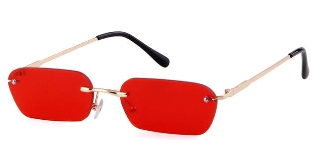 Calanovella Cool Two Toned Rimless Rectangle Sunglasses for Men Women 2020 Vintage 90s Metal Lightly Tinted Lens Sun Glasses black,red,blue,yellow,brown,clear 39.99 USD