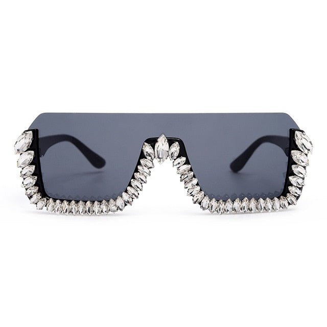Calanovella Trendy Oversized Square Semi-Rimless Crystal Rhinestones Sunglasses