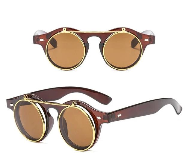 Calanovella Steampunk Round Sunglasses Cool Oval Round Flip Up Sunglasses for Men Classic Clamshell Design Fashionable Vintage Clip On Oval Round Steampunk Men's Sunglasses UV400 black,brown,pink,yellow,leopard,red 34.99 USD