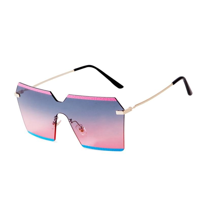 Calanovella Stylish Oversized Square Rimless Sunglasses for Women 2020 Frameless Gradient Color Big Frame Flat Top Lens Women's Sun Glasses UV400