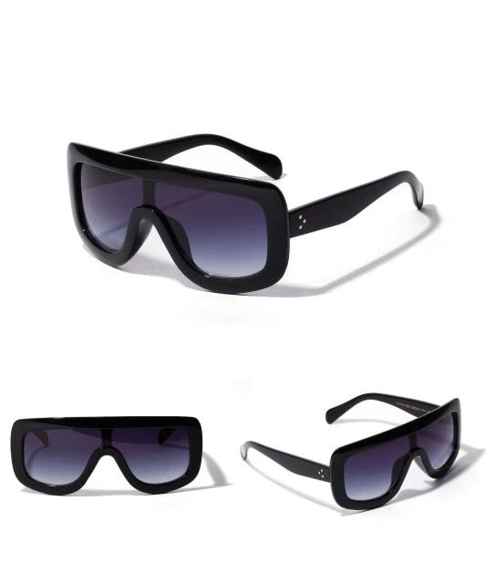 Calanovella Oversized Sunglasses Women Brand Designer Shield Big Frame Flat Top Gradient Lens Sun Glasses Shades Lady