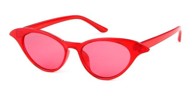 Calanovella Stylish Cat Eye Sunglasses Women Designer Vintage Cateye Frame Narrow Retro Shades