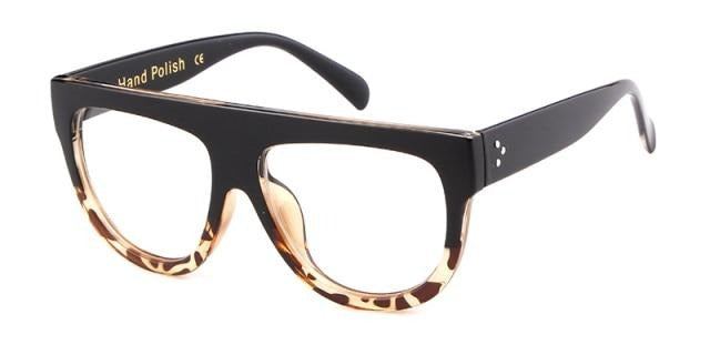 Calanovella Fashion Flat Top Vintage Rivet Big Frame Sunglasses