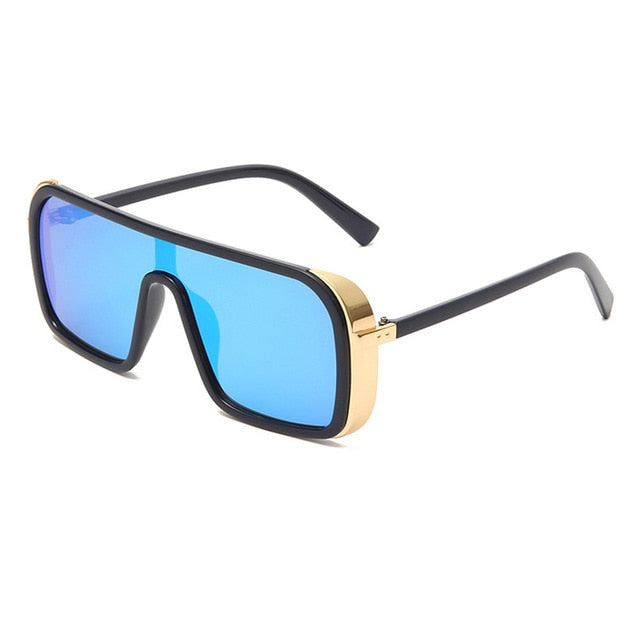 Calanovella Oversize One Piece Punk Sunglasses for Men Women Cool Square Eighties Retro Goggle Shades UV400 black,gold black,silver black,leopard,blue,brown 34.99 USD