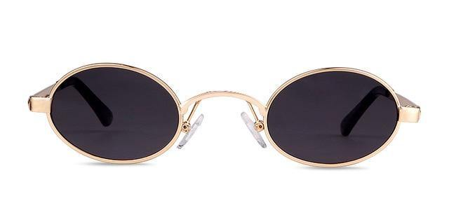 Calanovella Small Round Oval Sunglasses Men Women Gold Frame Red Lens 90s Slim Vintage Retro Sun Glasses - Calanovella.com