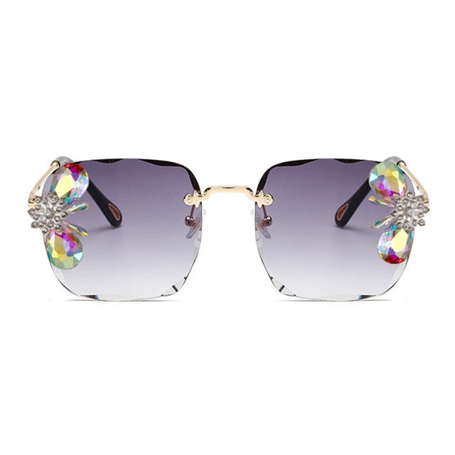 Calanovella Square Rimless Crystal Diamond Rhinestones Sunglasses UV400