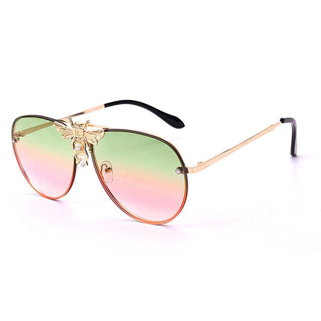 Calanovella Round Sunglasses Stylish Oval Round Pilot Sunglasses with Bee Cool Pilot with Stylish Bee Vintage Eighties Retro 2020 UV400 for Men Women black,brown,red,green pink,pink blue,blue yellow,purple pink 39.99 USD