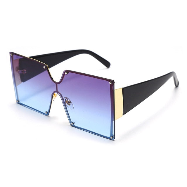 Calanovella Stylish One-Piece Square Sunglasses for Men Women Cool Oversized Gradient Blue Black Trendy Men Women's New Sun Glasses UV400 black,purple,white blue,mocha,choco,blue,red,gradient pink,gray,blue pink,brown,green pink,pink 34.99 USD