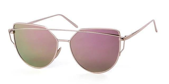 Calanovella Cat Eye Sunglasses fot Women Brand Design 90s Vintage Pink Gold Metal Frame Cateye Clear Eyeglasses