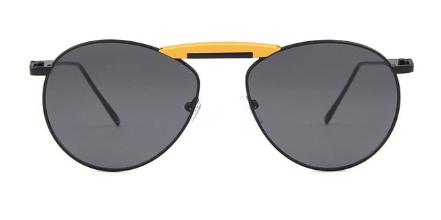 Calanovella Korean Fashion Trendy Pilot Sunglasses for Women Men Brand Design Retro Vintage Yellow Blue Lens 90s Shades
