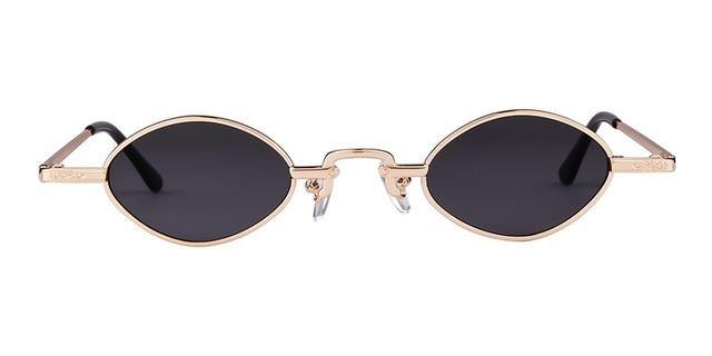 Calanovella Small Oval Sunglasses Retro 90s Slim Rhombus Tiny Frame Sun Glasses - Calanovella.com
