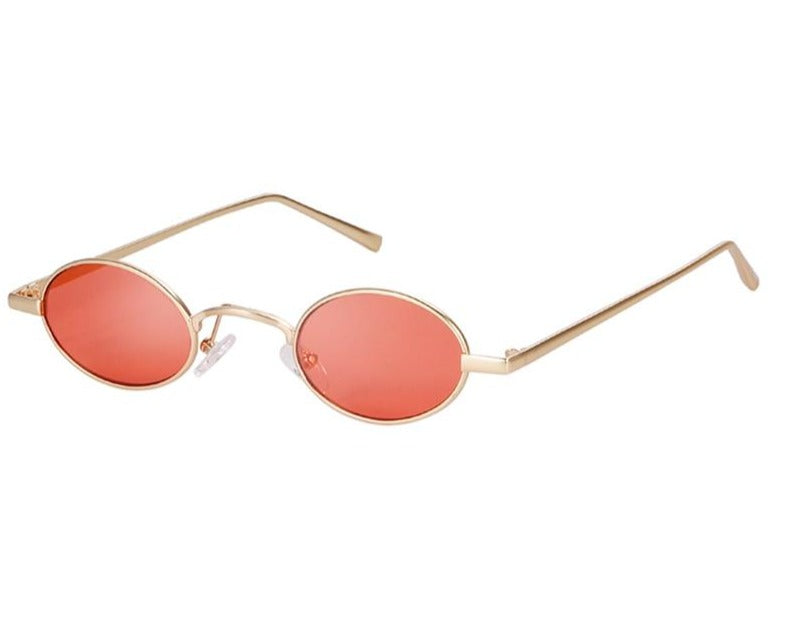 Calanovella Vintage Small Round Oval Pink Sunglasses Men Women Brand Designer 90s Retro Thin Slim Tiny Sun Glasses