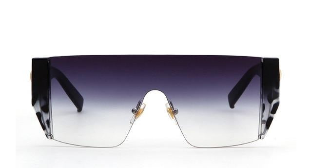 Calanovella Black Square Big Sunglasses for Women Trendy Rimless - Calanovella.com