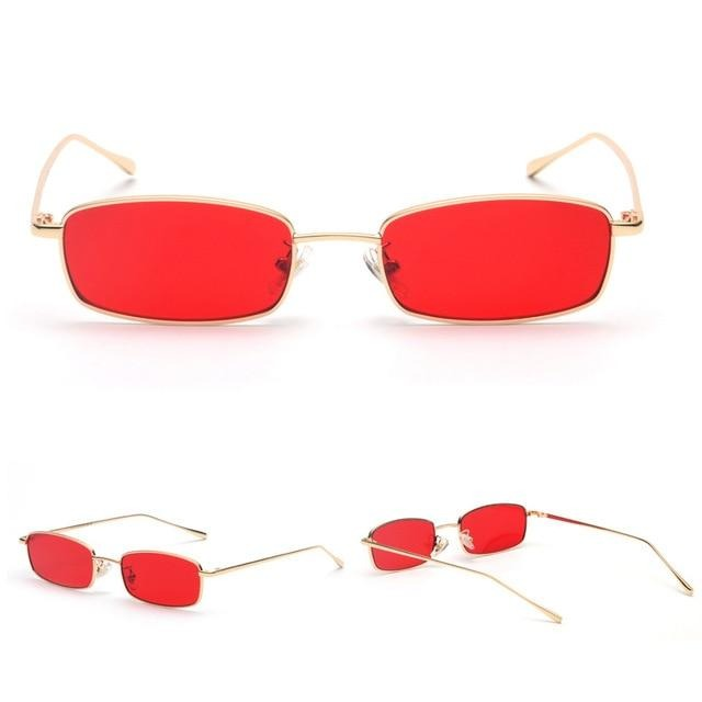 Calanovella Small Narrow Rectangle Sunglasses Women Men Brand Red Clear Lens Skinny Slim Wire Retro Sun Glasses Shades