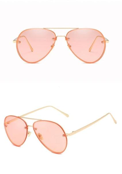 Calanovella Rimless Sunglasses Womens Classic Pilot Fashionable Tinted Lens Mirror Pink Lenses UV400