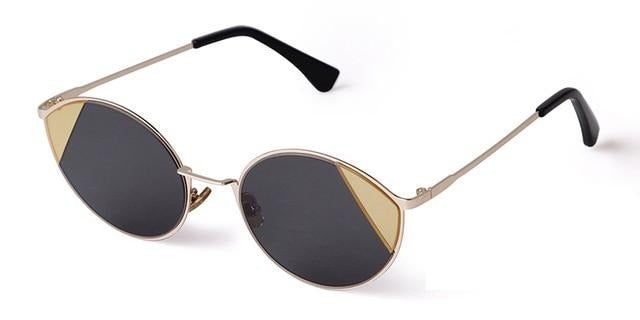 Calanovella Vintage Cute Oval Round Cat Eye Sunglasses for Women 2020 Metal Frame