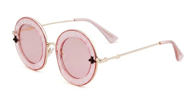 Calanovella Round Sunglasses Stylish Round Sunglasses Cool Oval Circular Lens with Little Bees Vintage Eighties Retro 2020 for Men Women black,white pink,silver gray,pink a,pink b,gray,leopard 39.99 USD
