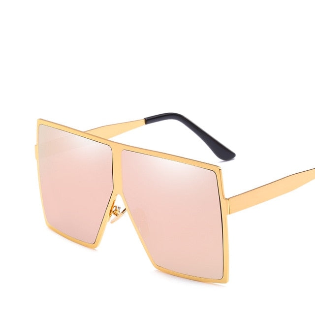 Calanovella Square Oversized Sunglasses Women 2020 Fashion Metal Frame Vintage Sunglasses Men Mirror Blue Gold Sun Glasses