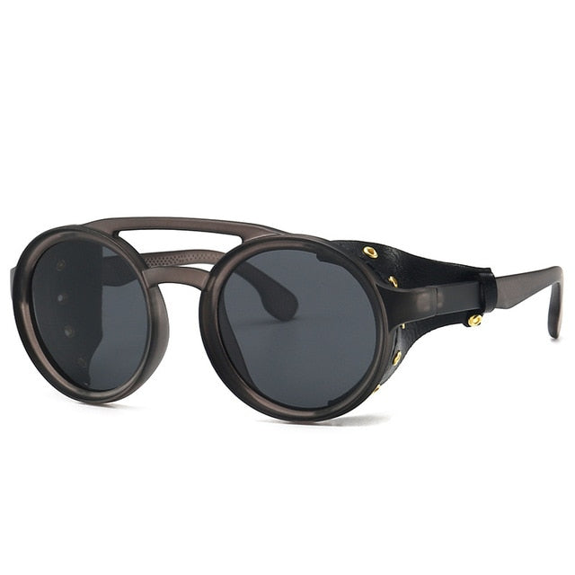 Calanovella Steampunk Round Sunglasses Stylish Classic Oval Round Steampunk Sunglasses with Side Shields Cool Oval Round Frame Vintage Eighties Retro 2020 Polarized UV400 for Men Women black,brown,blue gray,transparent gray,gradient brown,white gray 39.99 USD