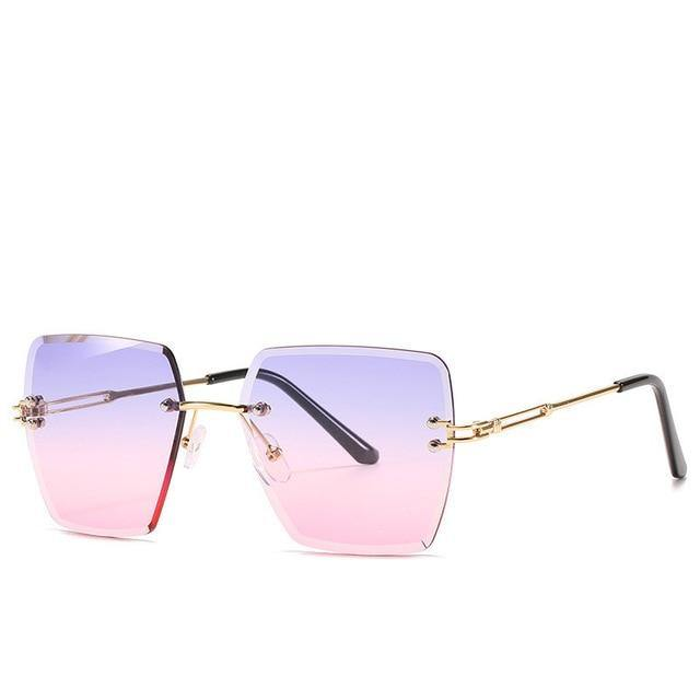 Calanovella Oversized Rimless Square Sunglasses Women's Stylish Frameless Sun Glasses UV400 - Calanovella.com