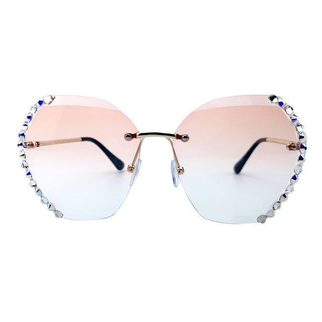 Calanovella Stylish Crystal Diamond Rhinestones Oversized Sunglasses UV400