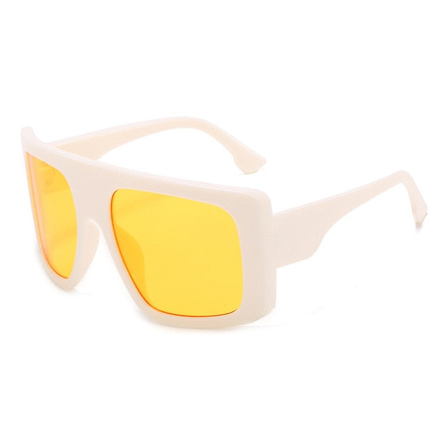 Calanovella One Piece Shield Square Sunglasses Vintage Oversized Trendy Sun Glasses