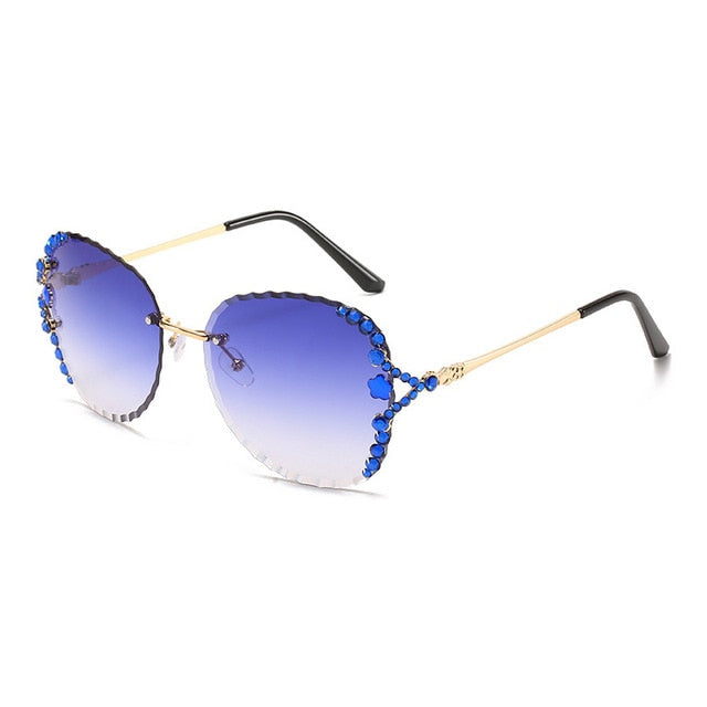Calanovella 2020 Two Toned Rimless Sunglasses Men Women Vintage Bling Rhinestone Sun Glasses gray,brown,blue,pink,red 34.99 USD