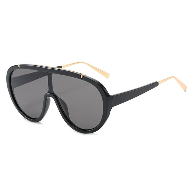 Calanovella One Piece Goggle Sunglasses Men Women Pilot Eyewear Chic Stripe Lens Square Oval Sun Glasses black,black gray,blue,black light gray,brown,leopard,white champagne,white brown 34.99 USD