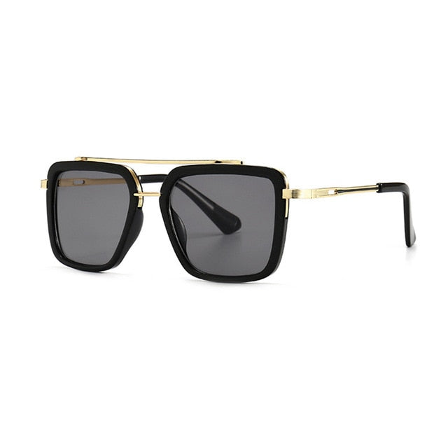 Calanovella Vintage Double Bridges Men Cool Square Sunglasses UV400 Golden Gray,Gun Black,Silver,Cool Blue,Golden Black,Tea Gradient,Blue Yellow 34.99 USD