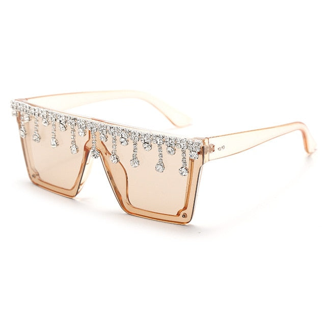 Calanovella Stylish Crystal Diamond Rhinestones Oversized Square Sunglasses UV400