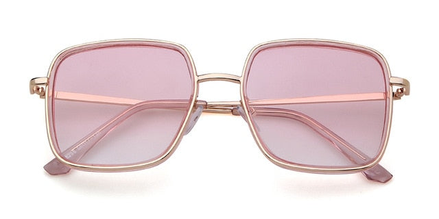 Calanovella Vintage Fashion Women Sunglasses Brand Designer Square Flat Top Rose Gold Pink Mirror Female Retro Sun Glasses