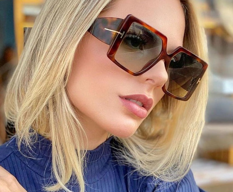 Calanovella Classic Oversized Square Sunglasses New Fashion Black Leopard Sun Glasses Gradient Vintage Big Shades UV400