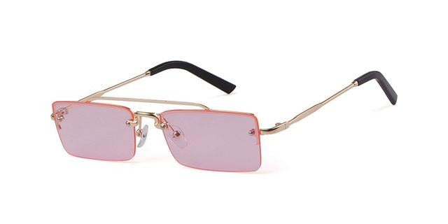 Calanovella Vintage Rectangular Sunglasses Women Brand Designer Narrow Rectangle Rimless Gold Frame 90s Sun Glasses Shades Female