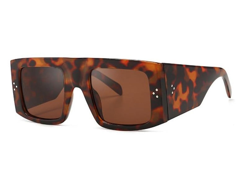 Calanovella Oversized Sunglasses Wide Arm for Women Vintage Leopard Square Thick Frame Tortoise Shell Retro Shades