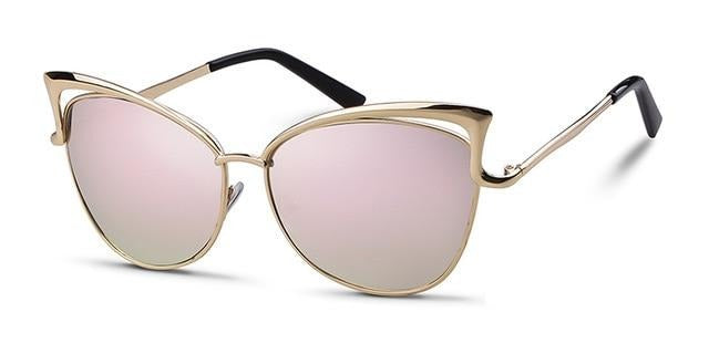 Calanovella Oversized Cat Eye Sunglasses Women Brand Designer Retro Vintage Gold Pink Mirror Sun Glasses Female Shades
