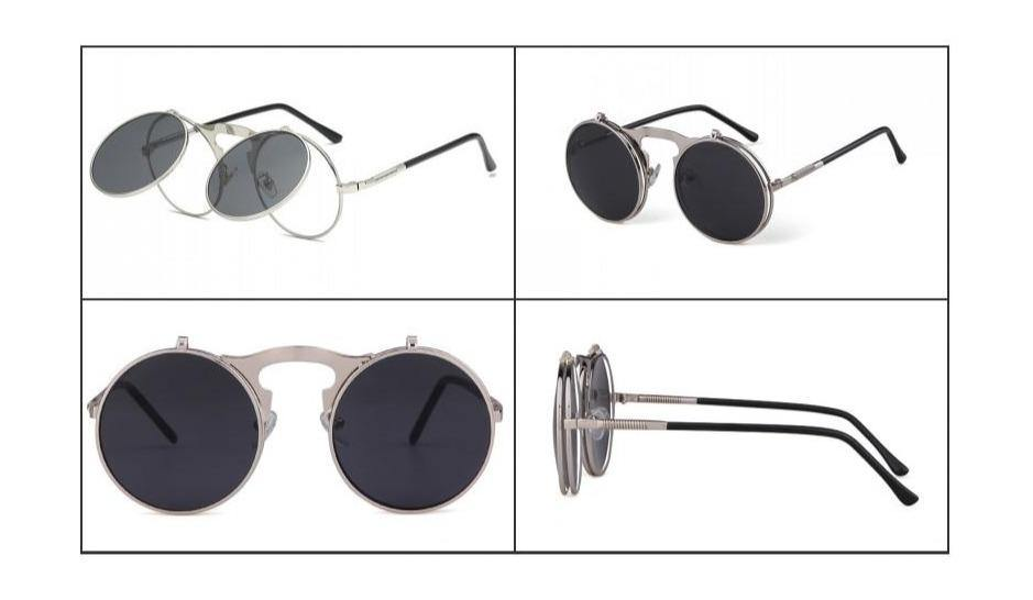 Calanovella Round Clip On Sunglasses Men Steampunk Goggles Flip Up Lens Sun Glasses - Calanovella.com