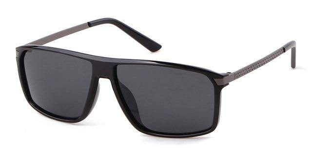 Calanovella Men's Rectangle Polarized Sunglasses Vintage Retro Matte Black Cool Sun Glasses UV400 - Calanovella.com