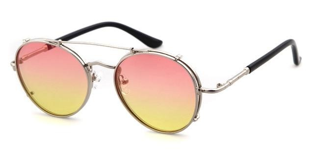 Calanovella Round Oval Sunglasses Men Women Metal Frame Circular Lens Stylish Sun Glasses