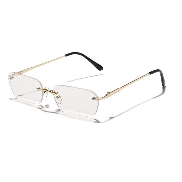 Calanovella Rimless Rectangle Sunglasses Men Women UV400 Clear Tint Color Small Square Sun Glasses - Calanovella.com