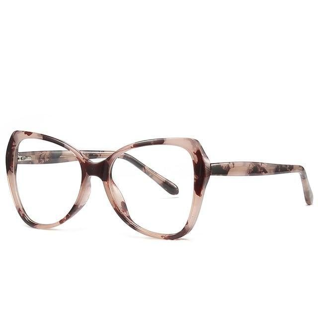 Calanovella Oversized Spring Hinge Unique Anti Blue Light Blocking Eyeglasses Women Transparent Fashion Eyewear Computer Glasses UV400