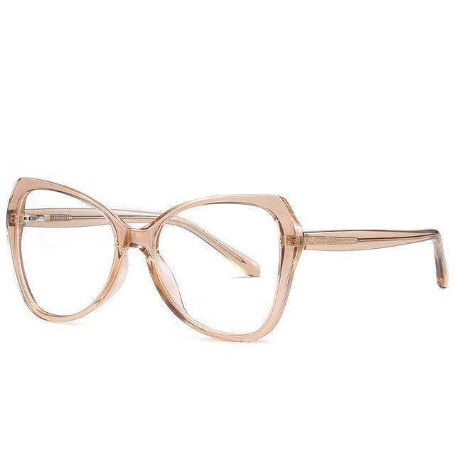 Calanovella Oversized Spring Hinge Unique Anti Blue Light Blocking Eyeglasses Women Transparent Fashion Eyewear Computer Glasses UV400 - Calanovella.com