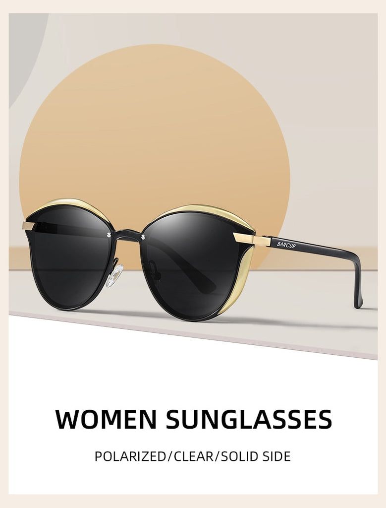 Calanovella Stylish Women Vintage Polarized Round Cat Eye Sunglasses UV400