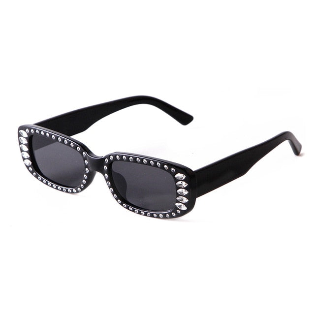 Calanovella Rhinestone Sunglasses Wide Rectangle Vintage Diamond Frame Shades