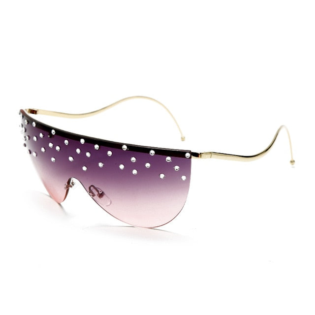 Calanovella Stylish Oversized Rimless One Piece Crystal Rhinestones Sunglasses UV400