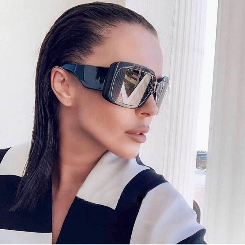 Calanovella Vintage Fashion Oversized Sunglasses Women Square Frame Big Large Sun Glasses Female